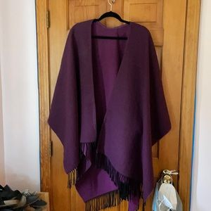 Purple wool poncho